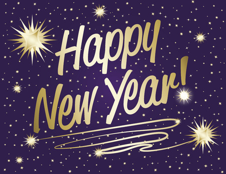 happy new year banner: Happy New Year text in gold gradient with sparkle stars on purple night background