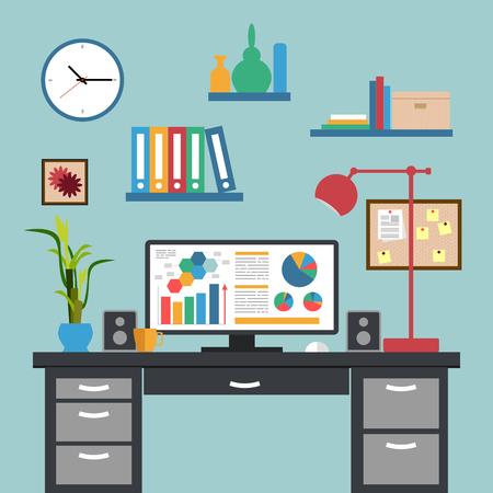 Flat design of modern interior office workspace-Creative flat modern business design concept Çizim