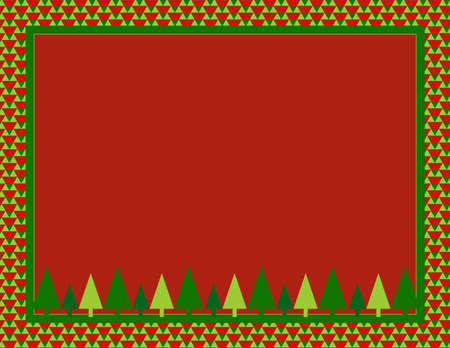Christmas Tree Frame with an Abstract pattern border