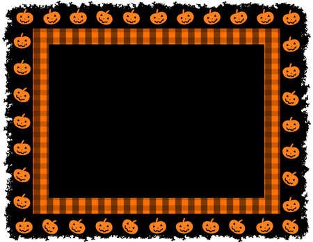 Halloween Pumpkin Gingham Frame; Halloween gingham patterned frame with pumpkin grunge border