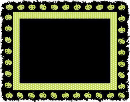 Halloween Pumpkin Dotted Frame; Halloween dotted frame with pumpkin grunge border