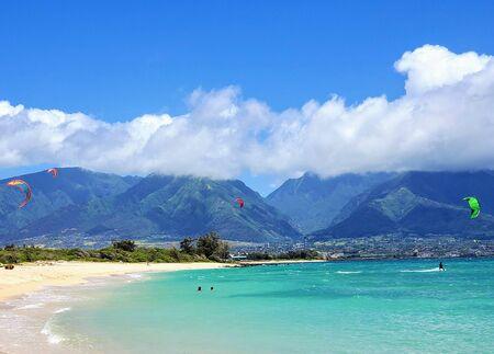 Kitesurfers at Kanaha Beach - Maui