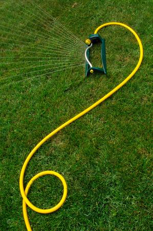 A sprinkler waters a nice green lawn in summer. Stock fotó