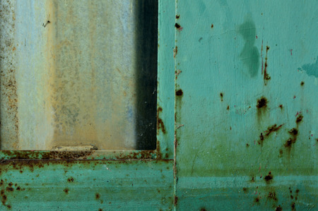 A nice textural rusty turquoise painted metal. Stok Fotoğraf