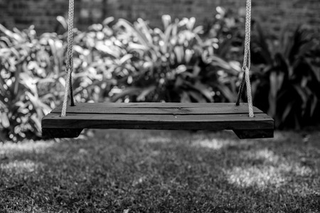 A classic wooden swing.