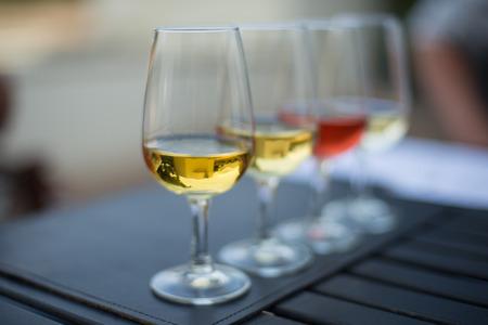 wine stocks: A row of a variety of wine to taste.