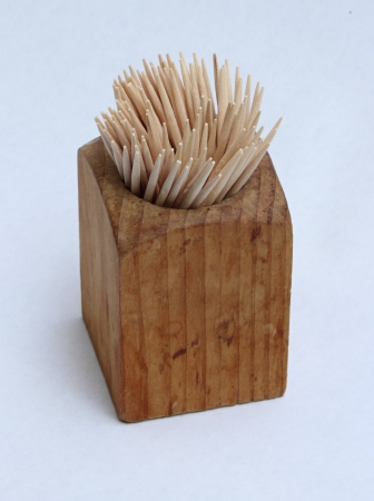 toothpick: Wooden toothpick holder