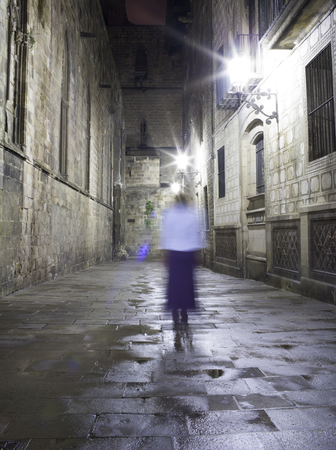 blurred image of a person walking photo