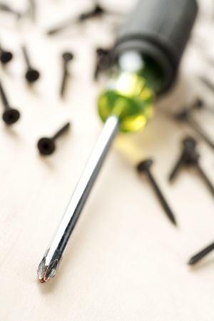 screwdriver and woodscrew