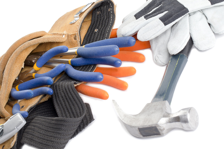 macr: tool belt with wrench hammer and gloves