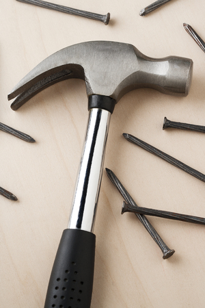 claw hammer: claw hammer and nails Stock Photo