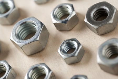 different sizes metal nuts  Stock Photo