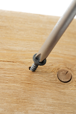 screw driven by screw driver to a wood