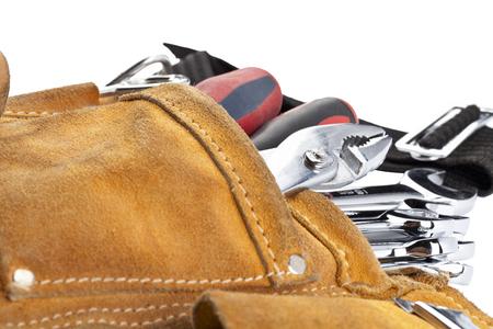 spanners in brown tool belt Banco de Imagens