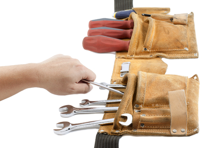 tool belt with spanner and screwdriver Banco de Imagens