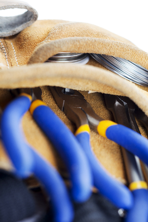 tools on a carpenters belt  Banco de Imagens