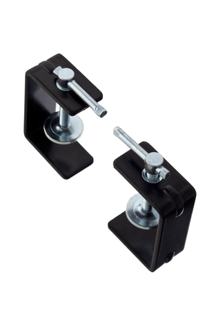 two black metal clamp