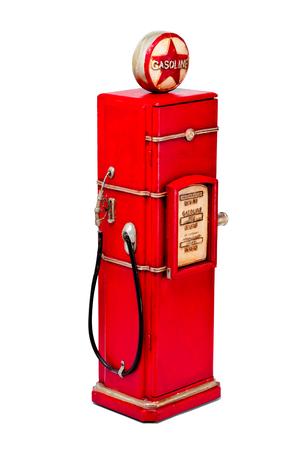 view of a red gasoline pump Banco de Imagens