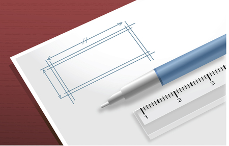white pad with ball pen and ruler vector image photo