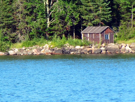 north woods: fishing camp, north woods
