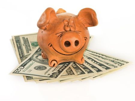 piggie bank: Clay pig on US dollars
