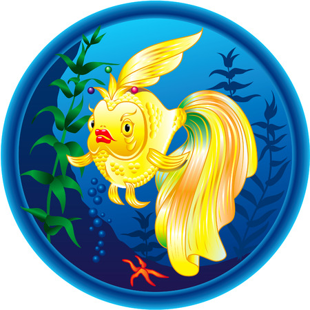 underwater fishes: Wonderful golden fish. Colourful vector illustration. Illustration