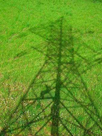 Shadow from powerline on green grass field           版權商用圖片