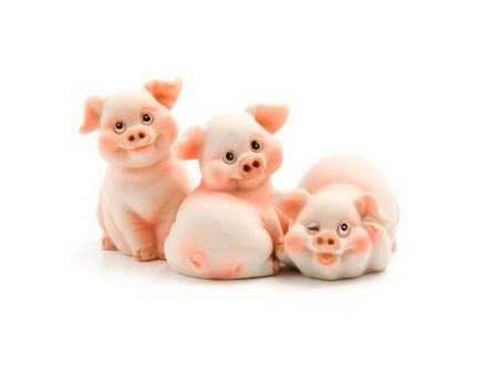 Three funny piggie isolated on white background Stock Photo - 3673094