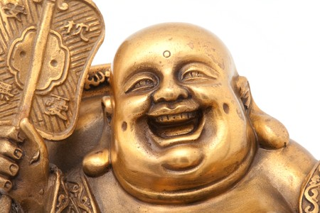 buddah: Cheerful Golden Hotei. Close-up isolated on white background. Stock Photo