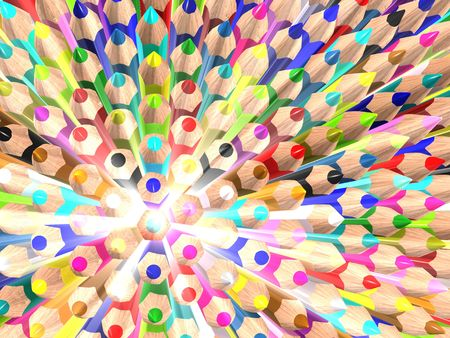 radiate: Radiate crayons. Abstract background. 3d rendered image.