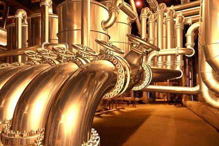 pipelines inside oil refinery. pipes, tubes, tanks, valves. 3D rendering illustration. illustration