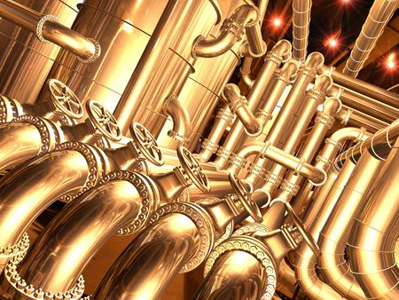 conduit: pipelines inside oil refinery. pipes, tubes, tanks, valves. 3D rendering illustration.