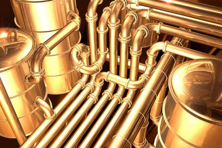 oil refinery: pipelines inside oil refinery. pipes, tubes, tanks, valves. 3D rendering illustration.