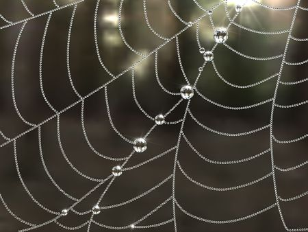 Spider web with dew drops. 3D rendering illustration