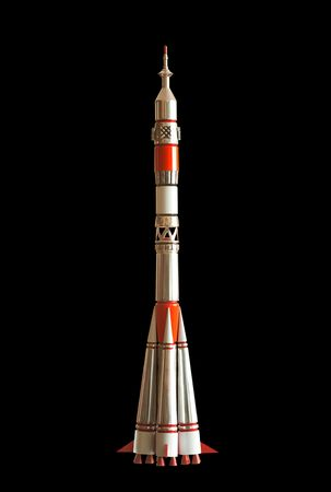 Intercontinetal ballistic missile Soyuz 7K-OK (11A511) lancher. Handmade souvenir. Isolated on black. path included.