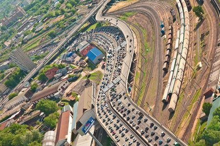 Traffic jam on a freeway in Moscow city. Aerial view photo