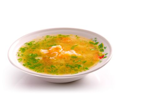 Plate of chicken soup isolated over white 版權商用圖片