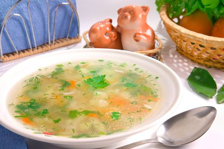 pepper castor: Served chicken rice soup decorated ingredients Stock Photo