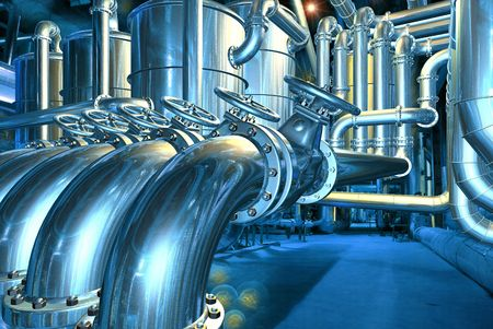 Big pipeline in the abstract refinery. Computer graphic image. 3D rendering illustration. 版權商用圖片