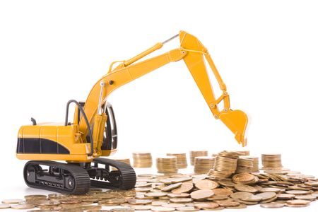 Yellow excavator digging a heap of coins isolated over white background 版權商用圖片 - 6783717