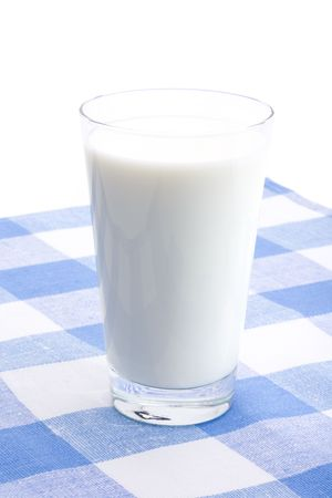 Glass of milk on a blue cloth over white background