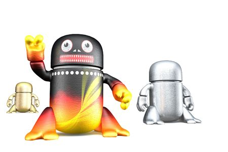 Cute toy robots isolated on a white background. 3d rendering image