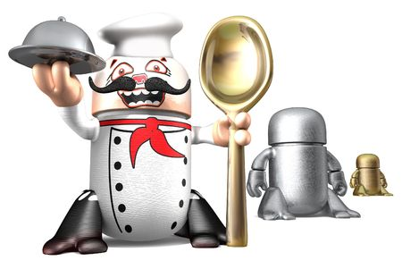 Cute cook toy robots isolated on a white background. 3d rendering image Stock fotó