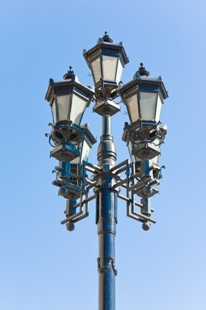 street lamp over blue sky
