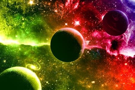Planetas y estrellas de universo galaxia nebulosa Foto de archivo