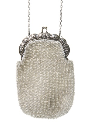 Beaded evening bag over white background