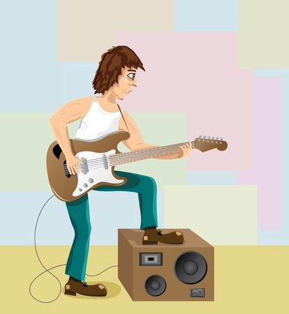 guy playing guitar: The man, playing on an electric guitar. The vector image.