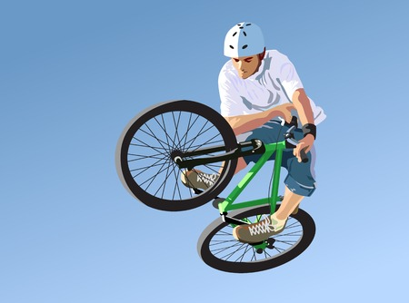 brave of sport: Competitions on dirt jumping. A vector illustration.