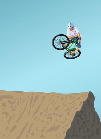 mtb: Competitions on dirt jumping. A vector illustration.