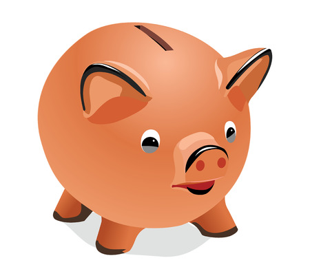 The vector image of a pig-coin box